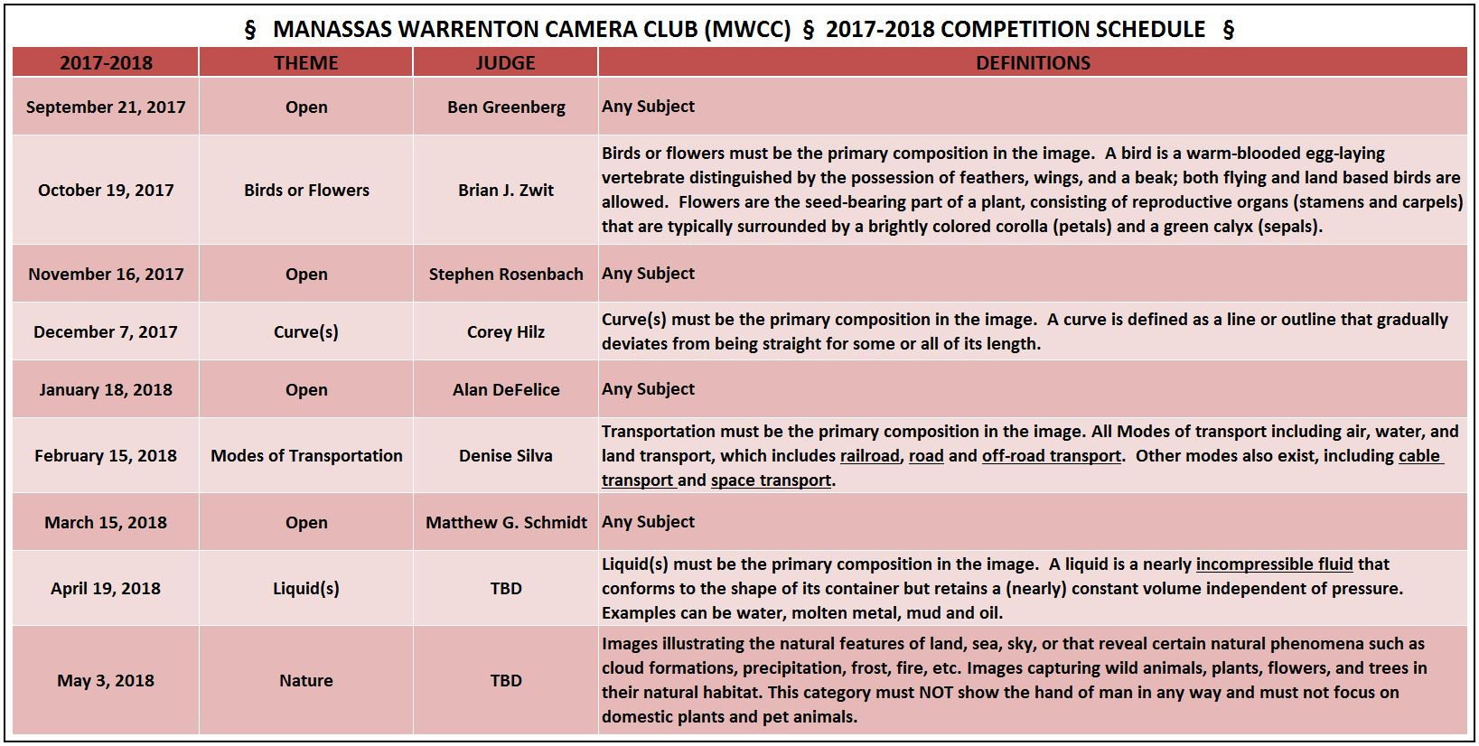 MWCC Competition Schedule 2017-2018