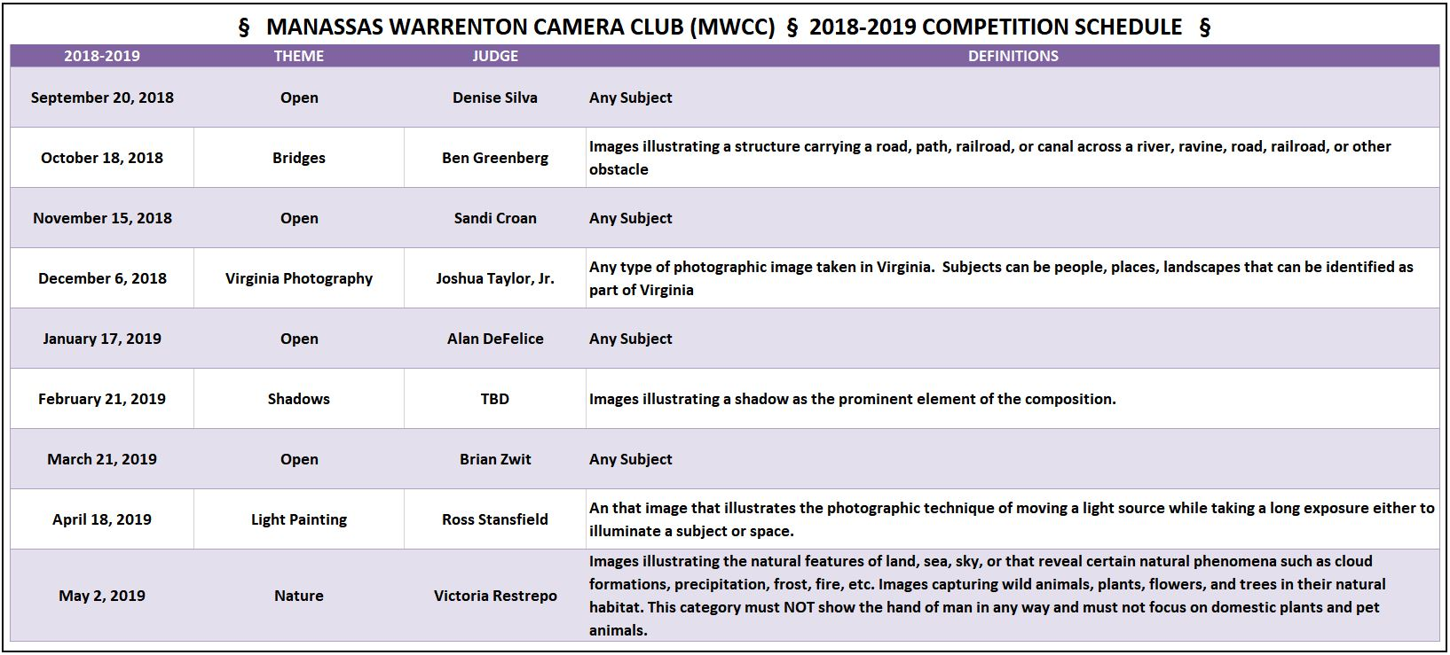 MWCC Competition Theme Schedule 2018-2019